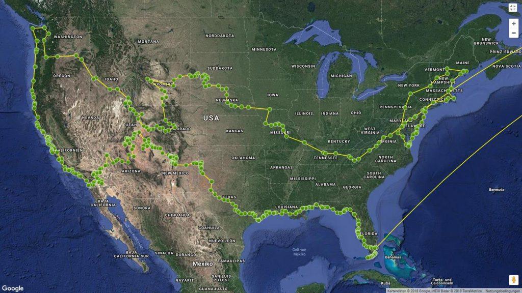 Karte mit der Route meiner USA-Tour